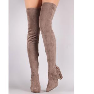 New Women Bamboo Showtime 01 Heeled Boots Taupesfs
